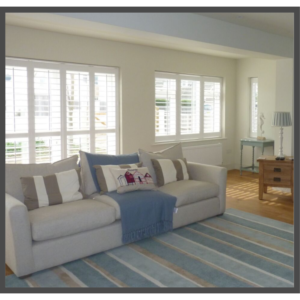 Shutters Installed On Patio Doors & Windows in Living Room